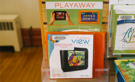 Playaway cases on display.
