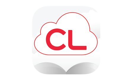 Cloud Library logo. Cloud around a book icon.